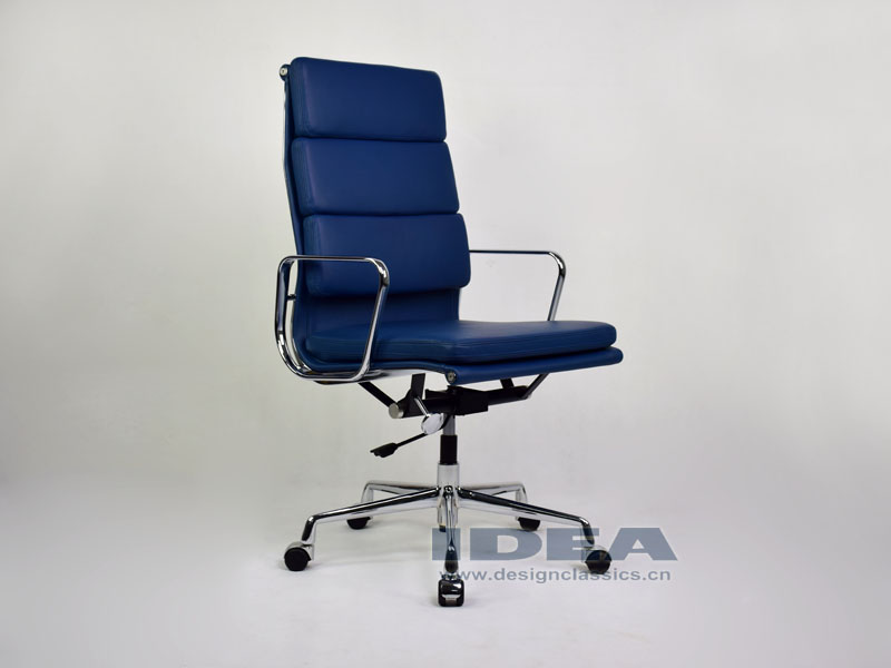 Eames Softpad High Back Office Chair Blue Leather