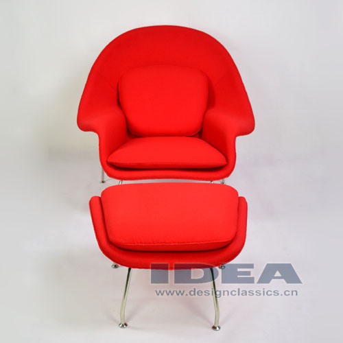Womb Chair and Ottoman Red Fabric