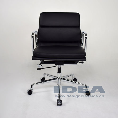 Eames Low Back Softpad Chair Black Leather