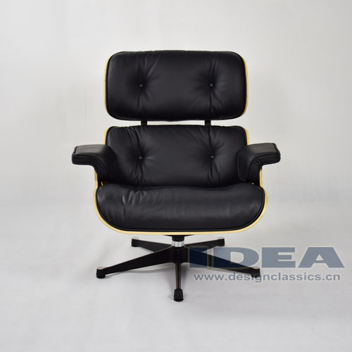 Eames Lounge Chair Walnut Shell Black Leather