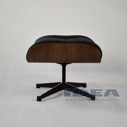 Eames Lounge Ottoman Walnut Shell Black Leather