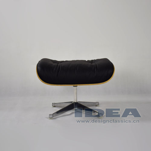Eames Lounge Ottoman Walnut shell Black leather Polished Aluminum Base