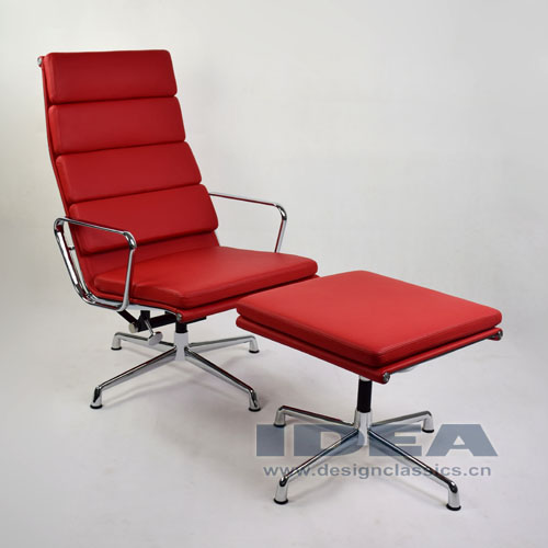 Eames Management Lounge Chair and Ottoman Red Leather