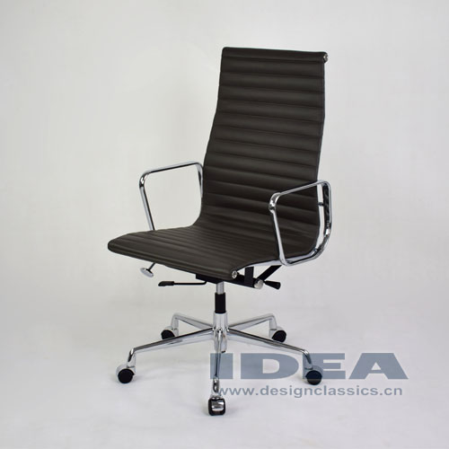 Eames Style Aluminum Office Chair Dark Grey Leather
