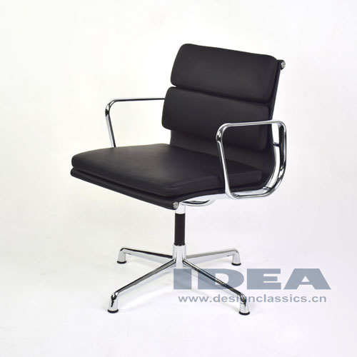 Eames Group Aluminum Management Chair Black Leather